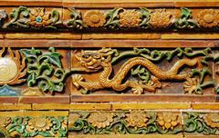 facade detail with dragon motif in the forbidden city, beijing, people\'s rep - stock photo