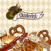 Oktoberfest celebration design with beer - stock illustration