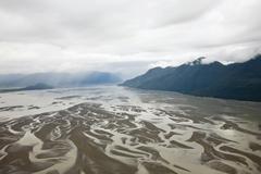 aerial view, inside passage, south of wrangell, southeast alaska, alaska, usa - stock photo