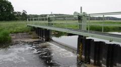 Weir on Rhin river. Havelland (Brandenburg, Germany) Stock Footage