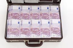 briefcase full of euro banknotes - stock photo