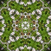kaleidoscopic bee on flower mosaic seamless generated texture - stock illustration