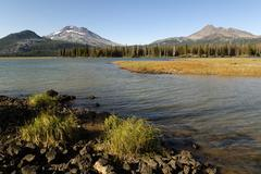 Stock Photo of sparks lake, with the south sister and broken top volcano, cascade lakes nati