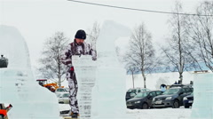 Company of artists making ice figures Stock Footage