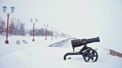 General Onega lake quay view with cannon and lampposts Stock Footage
