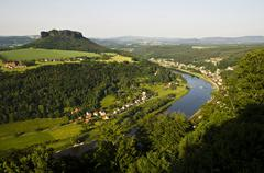 festung koenigstein fort, view on elbe river and lilienstein mountain, elbe s - stock photo