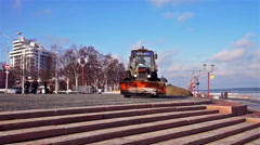 Snow-plough working at Onega lake quay Stock Footage