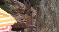 HD.Stairs descending to the beach. Ionian island. Tourist summer vacation. Stock Footage