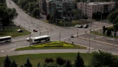 CAR, BUS, PEOPLE, BUSY INTERSECTION, DAY, TIME LAPSE Stock Footage