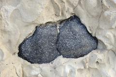 Lava stones in lime deposits, puerto de la pena, aiuy, fuerteventura, canary  Stock Photos