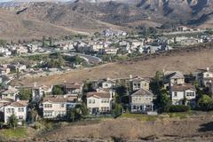 California hillside suburbia Stock Photos