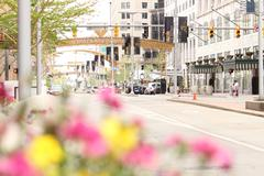 Cleveland street scene Playhouse Square arch in background Stock Photos