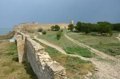 view of fortified wall and watchtower of turkish fortress Akkerman - stock photo