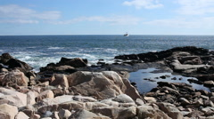 Ocean with Rocky Outcrop - stock footage