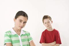 Argument between a boy and a girl Stock Photos