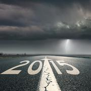 driving on road towards the storm to 2015 - stock photo