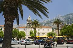 seaside promenade, makarska, dalmatia, croatia, europe - stock photo