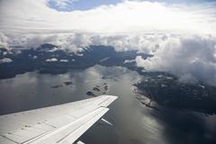 aerial view from airplane, inside passage near ketchikan, southeast alaska, a - stock photo