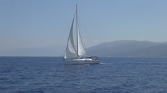 Traveling with a boat on Mediterranean sea. Stock Footage