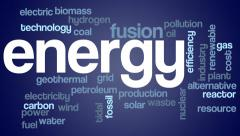 Energy themed words flying in from camera forming word cloud Stock Footage