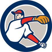 Baseball pitcher throw ball circle cartoon Stock Illustration