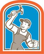 Stock Illustration of builder carpenter holding hammer shield cartoon