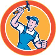 Builder carpenter holding hammer circle cartoon Stock Illustration