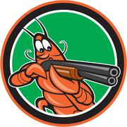 Crayfish lobster aiming shotgun circle cartoon Stock Illustration