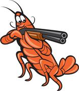 crayfish lobster aiming shotgun cartoon - stock illustration