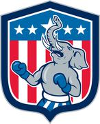 republican elephant boxer mascot shield cartoon - stock illustration