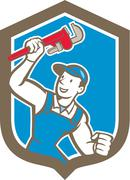 Plumber holding monkey wrench shield cartoon Stock Illustration