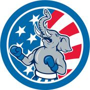 republican elephant boxer mascot circle cartoon - stock illustration