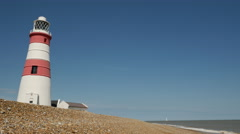 Orfordness Lighthouse, Suffolk, England, United Kingdom Stock Footage