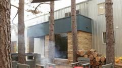 Patio Fireplace Stock Footage