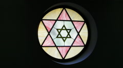 Stained Glass Star of David Stock Footage