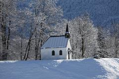 chapel in fleck, lenggries municipality, isarwinkel, upper bavaria, germany,  - stock photo