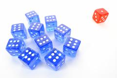 Dice, symbolic picture for mobbing, isolation, loner Stock Photos