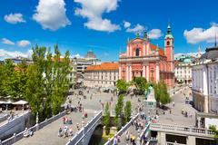 Preseren square, Ljubljana, capital of Slovenia. Stock Photos