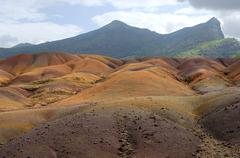 colored earths of chamarel, mauritius - stock photo