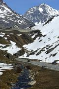 ascent to the julier pass, julier hospiz, graubuenden, grisons, switzerland - stock photo
