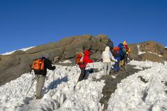 Group of mountaineers hike over harsh snow to uhuru peak crater rim kilimanja Stock Photos