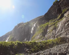 Mountain waterfall, water spray in the air, sunny summer day, click for HD - stock footage