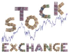 stock exchange, written with bank notes - stock photo