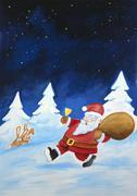Santa claus brings gifts, illustration Stock Illustration