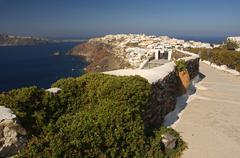 View onto oia and the caldera, santorini, cyclades, aegean sea, greece Stock Photos
