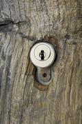 Stock Photo of new cylinder lock at the entrance to hohenklingen castle, canton of schaffhau
