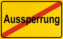 german city limits sign symbolising end of lockout - stock photo