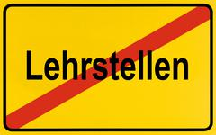 german city limits sign symbolising end of apprenticeship - stock photo