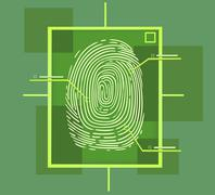 Hi tech fingerprint composition Stock Illustration