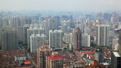 Aerial View, Panorama of Shanghai Skyline in China Stock Footage